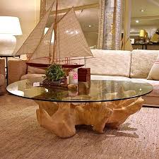 Chic DIY Projects Tree Stump Side Table Coffee Table With Glass Top Round  Shape Design With Cream Sofa Color Table Natural Creative Tree Stump Side  Table ...
