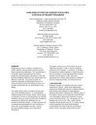 Pdf Shielding Of Proton Therapy Facilities A Review Of