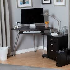 corner computer desk with triangular shaped also 3 curve grey steel legs and drawer for keyboard