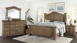 Vaughan-Bassett Rustic Hills Poster Bedroom Set in Saddle Grey