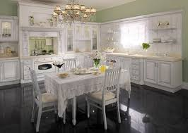 Gloss Kitchen Floor Tiles Picture Of Classic Kitchen Design With Vintage White Cabinets And