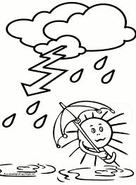 Kleurplaat Storm En Regen Herfst