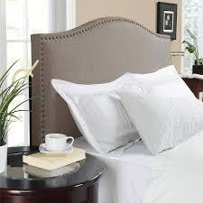 gray full queen upholstered linen fabric bed headboard nailhead