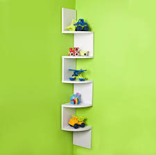 fascinating design corner shelf unit ideas with green wall paint and white color wooden shelves zigzag shape home furniture awesome designs clear desk ikea