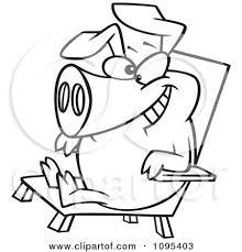 chair clipart black and white. clipart black and white outline cartoon hog relaxing in a chair on pig day - royalty free vector illustration by toonaday
