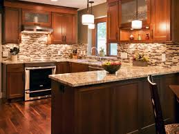G Tiled Kitchen Backsplash Tips  Remodeling Idea With U Shaped Mahogany  Cabinet Designed