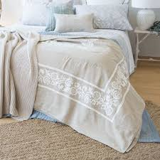 embroidered linen bedspread and