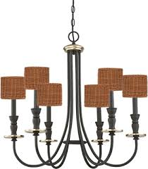 inexpensive westinghouse 6325200 cresting six light oil rubbed bronze chandelier with antique brass accents get s a whole new look with woven wicker clip on