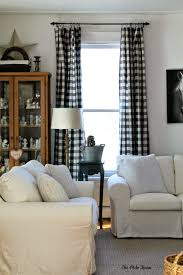 Living Room Curtain Panels Vintage Living Room With Black White Buffalo Check Curtain Panels