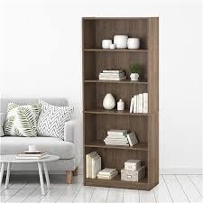hayden 5 shelf bookcase rustic oak