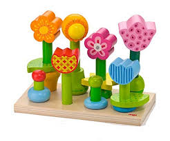 haba bonita garden 25 piece wooden mix match stacking peg toy