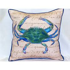 large outdoor pillows. Male Blue Crab Beige Large Outdoor Pillow Pillows