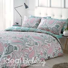 paisley pastel pink duvet quilt bedding cover and pillowcase bedding set