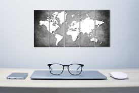 Wall Painting Paper Design Paper Plane Design Wall Painting Set Of 5 World Map Grey
