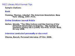 Ppt Fkcc Library Mla Format Tips Powerpoint Presentation Id4319080