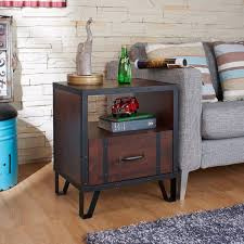 Furniture Vintage Nightstand Walnut Industrial End Table Bedroom - Black and walnut bedroom furniture