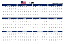 Calendar Yearly 2020 Us 2020 Calendar Yearly 12 Month Printable Calendar 2020