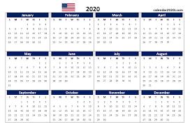 12 Months 2020 Calendar Us 2020 Calendar Yearly 12 Month Printable Calendar 2020