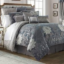 ... Ansonia Floral Blue Gray Comforter Bedding By Waterford Linens Images  With Outstanding And Sets Of Q ...