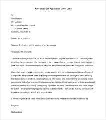 Resume Cover Letter Sample Free Accountant Job Application Cover