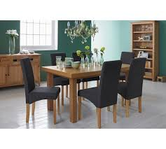 cosgrove extendable oak dining table and 6 cream chairs. collection cosgrove oak veneer table \u0026 6 chairs - charcoal extendable dining and cream o