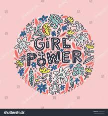 Girl Power Lettering Design Flowers Inspirational Stock Vector