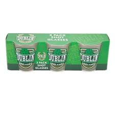 3 pack shot glasses with dublin ireland and green shamrock design