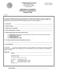 Applicatoin For Amended Certificate Of Authority Of A Foreign Entity