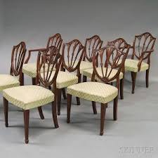 set of eight federal style carved gany shield back dining chairs