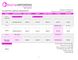 21 Day Fix Workout Calendar - Latina Leaders In Health & Fitness