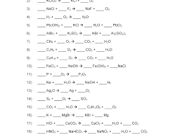 balancing chemical equations practice sheet problems et student