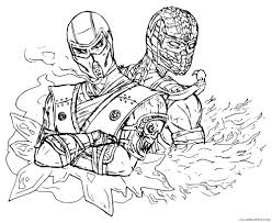 mortal kombat coloring pages sub zero and scorpion coloring4free