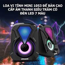 Loa vi tính mini 1053 để bàn cao cấp âm thanh siêu trầm có đèn led 7 màu