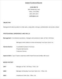 functional format resume template
