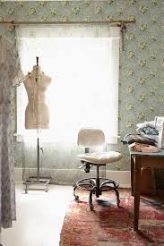 wallpapered office home design. Boho Chic Home Office With Wallpapered Beauty [Design: Rachel Ashwell Shabby Couture] Design