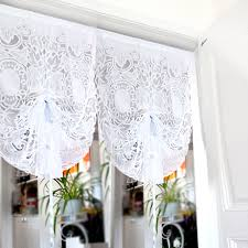 kitchen short curtains roman blinds embroidered valance partition customize white lace gauze drawstring curtain for living