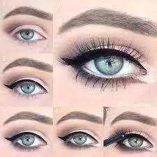 neutral eye makeup look for blue eyes