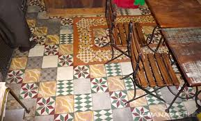 brazil patchwork cement tile floor in cafeina cafe copacabana rio de janeiro