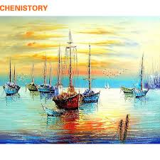 frameless abstract sailing seascape diy painting by numbers handpainted picture painting on canvas for living room