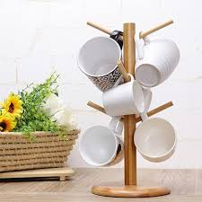 Tea Cup And Saucer Display Stand Wood Tree Shape Mug Coffee Cups Drying Storage Rack Holder Home 58