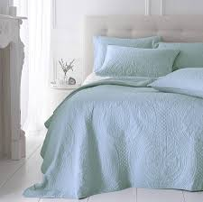 soft duck egg grey quilted bedspread