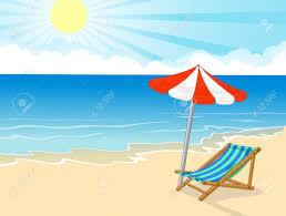 cartoon beach chair and umbrella on tropical beach stock vector 27649031