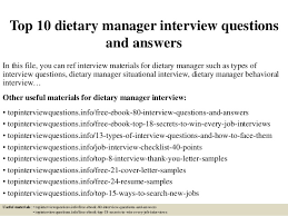 dietary manager job description top 10 dietary manager interview questions and answers