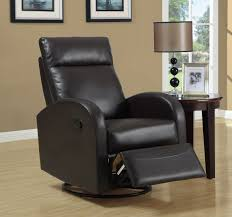 monarch specialties bonded leather swivel rocker recliner dark brown solid com