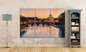 3 pieces rome sunset at saint peter s basilica leather print extra large print large wall art multi panel wall decor better than canvas  on extra large multi panel wall art with 3 pieces rome sunset at saint peter s basilica leather print extra