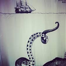 awesome shower curtain. DIY Myself An Octopus/squid/kraken/cthulhu/ocean Beastie/badass Ship Shower Curtain. Awesome Curtain