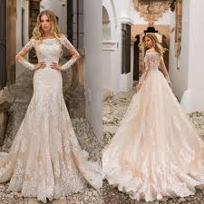 Details About Champagne Wedding Dresses Plus Size Mermaid Long Sleeve Bridal Gown Off Shoudler
