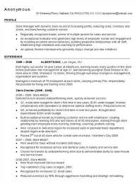 Sample Resume Of Store Manager