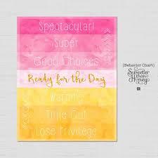 Printable Behavior Chart Princess Watercolor Diy Kids Magnet Clip Chart Home School Color Coded Toddler Behavior Reward Sign Customizable