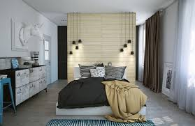 Bedroom with walk in closet Fashionable Modern Bedroom Design With Room Divider And Walkin Closet Lushome Modern Bedroom Design With Walk In Closet And Decorating Ideas In